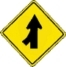 merging lane left warning sign