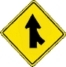 Merging lane right warning sign