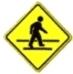 pedestrain crossing ahead warning sign