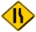 Right narrow lane warning sign