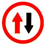 Thai give way to oncoming traffic sign