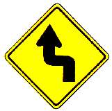thai left double curve warning sign