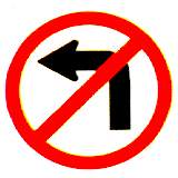 Thai no left turn sign