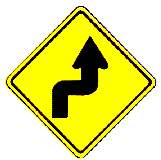 thai right double curve warning sign