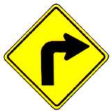 Thai sharp right curve warning sign
