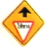 Yield sign ahead warning sign